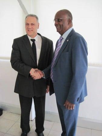 Le Préfet délégué de Saint-Barthélemy et Saint-Martin Philippe Chopin et le Ministre de la Justice de Sint Maarten, Dennis RICHARDSON