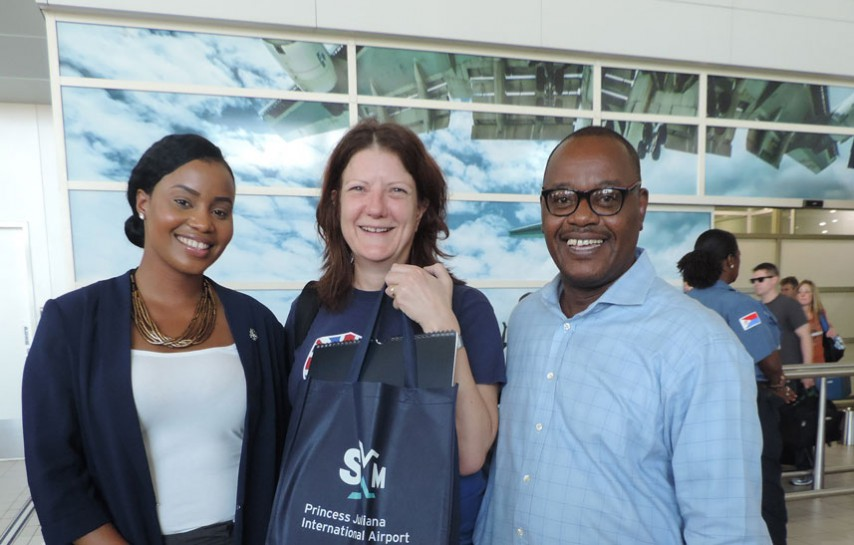 L-R: Shanéé Hodge, SXM Airport Marketing Intern, Professor Margaret Bates, Manager of the Centre for Sustainable Wastes Management (Keynote speaker), and Mr. Stephane J. de Dje-Robert, of Island Vision Foundation, organizer of the event. (SXM photo)