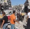 مجزرة مروعة يرتكبها الطيران الحربي في مدينة معرة النعمان ضحيتها أكثر من ٢٠ قتيلاً كحصيلة أولية