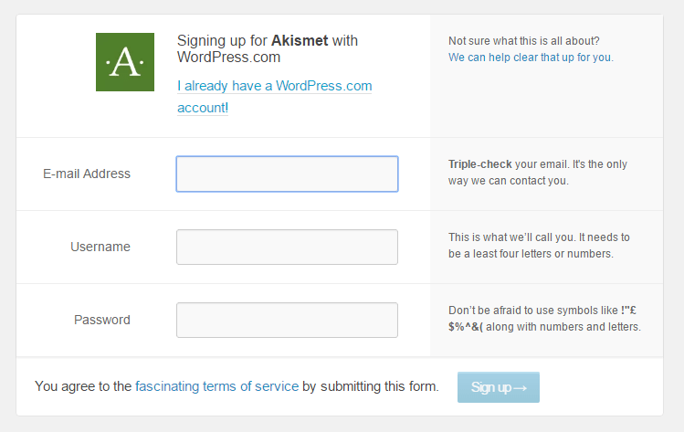 P4-akismet-wordpress-signup