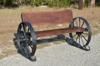 Wooden Wagon Wheel Bench