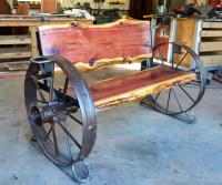 Cedar Wagon Wheel Bench