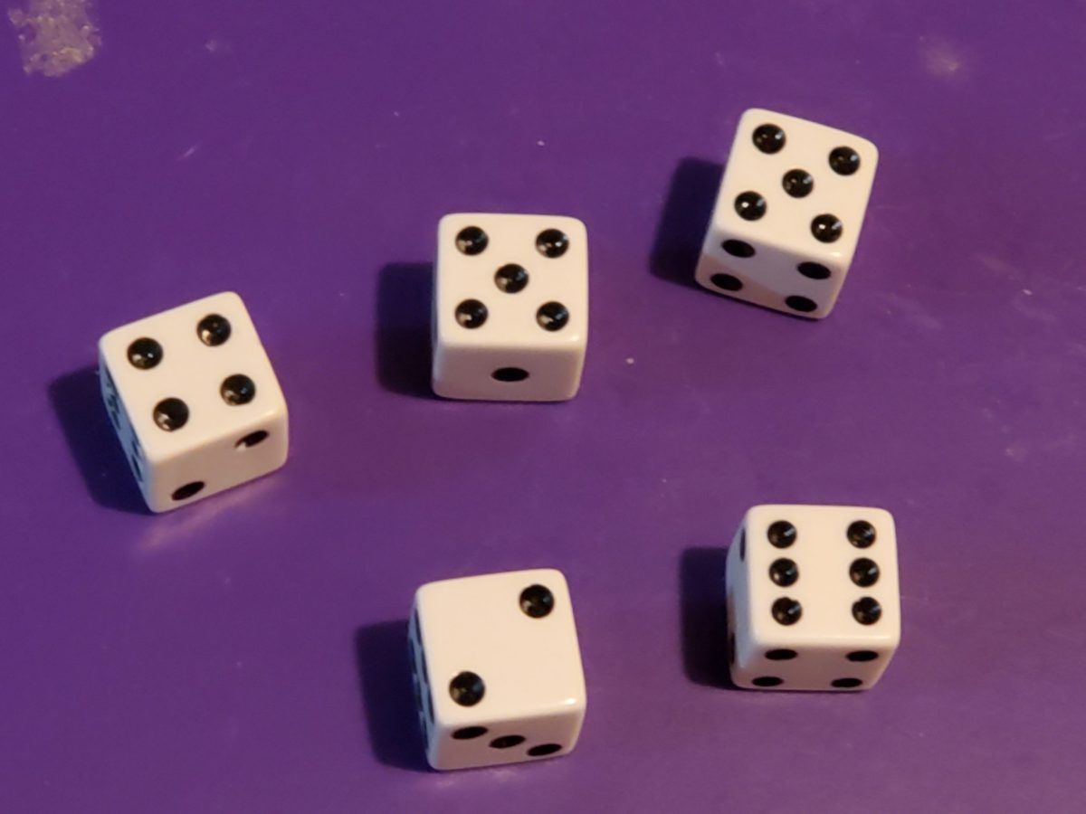 Five dice showing 4, 5, 5, 2, 6
