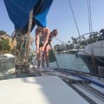 Washing the boat at Marina del Este