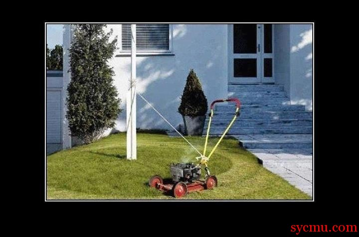 An engineer sets up his lawn mower to rotate automatically