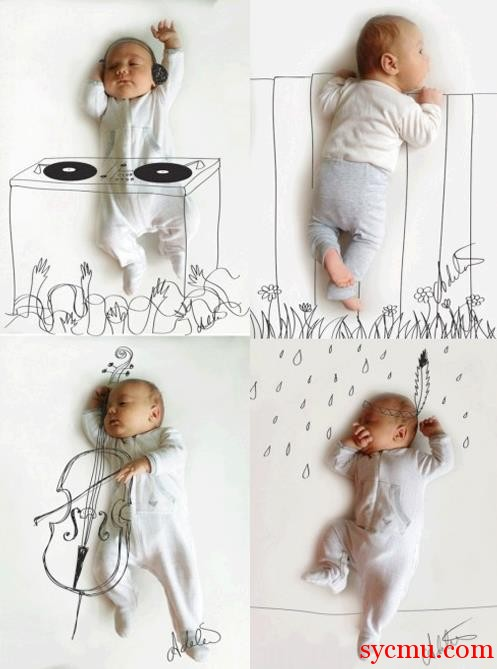 Baby cooking, playing cello, dancing, and peeking over the wall