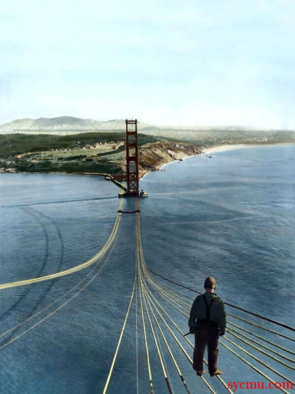 1935 Golden Gate bridge worker on the strings technicolor