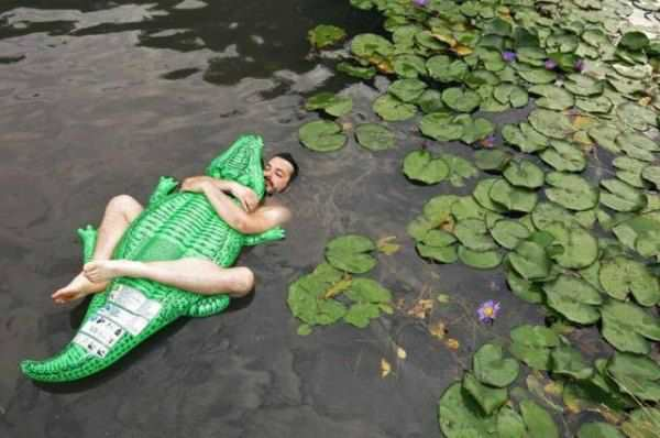 Funny Floating in pond
