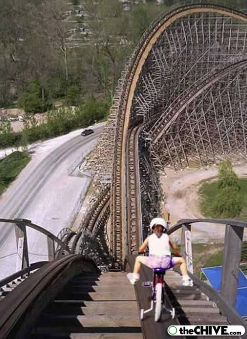 Biking down roller coaster