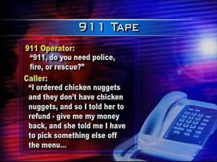 Chicken Nuggets refund 911