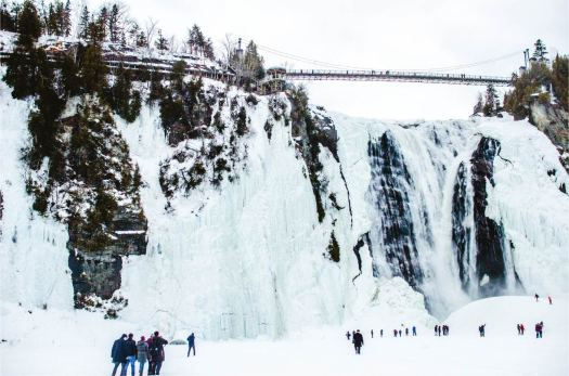 Montmorency Falls with its ice climb trails on the left, and the pain de sucre / sugarloaf directly below the falls