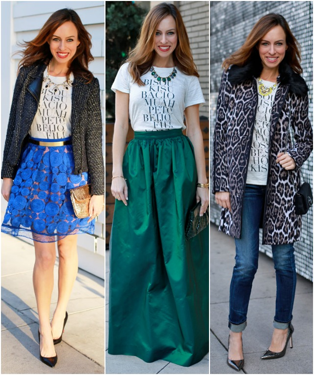 Sydne Style how to wear a graphic shirt j crew bisou kisu ball gown skirt leopard jeans