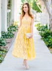 Miranda Kerr Yellow Lace Dress