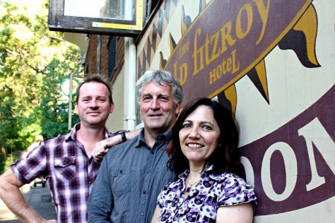 In happier days- Garry Pasfield (middle), the proprietor of the Old Fitzroy Hotel, with Co-Artistic Directors of the Old Fitz theatre, David Jeffrey and Julie Baz. Pic Emily Watson
