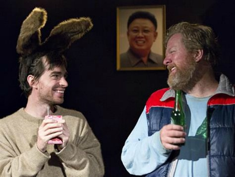 Inset pic- Kit Brookman and Steve Rodgers. Featureed pic- Kaeng Chan and Kit Brookman in A RABBIT FOR KIM JONG-IL. Production photography by Brett Boardman