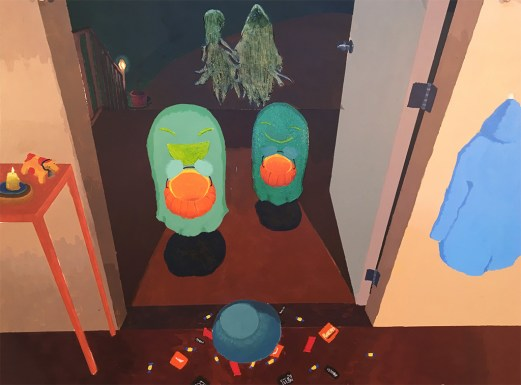 ghosts trick or treating acrylic painting
