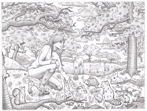 printmaking sketch forest animals girl