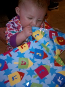 Sydney found some yummy wrapping paper