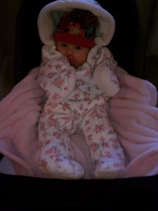Bundled up in her outerwear from cousin Leslie