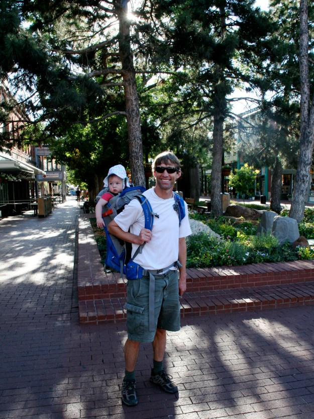 Sydney in backpack on Pearl Street Mall