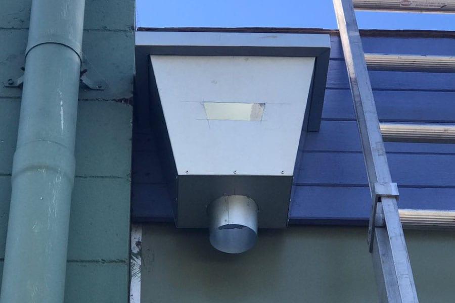box gutter with rain water head chute