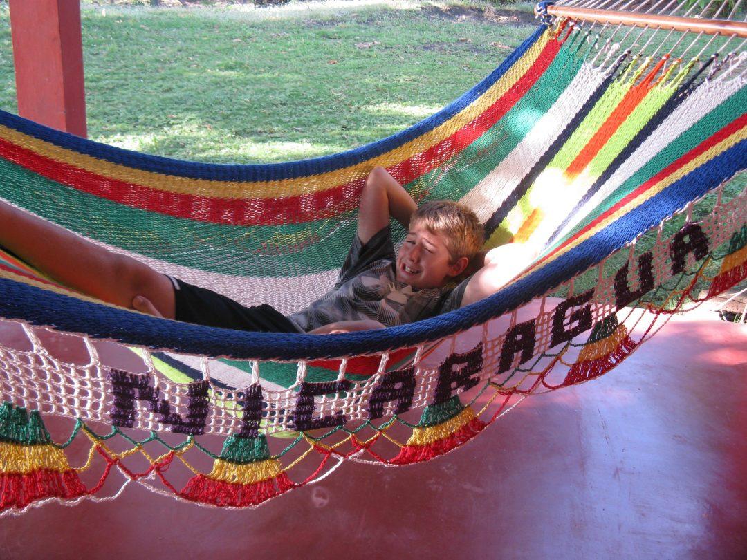 Lucas in hammock