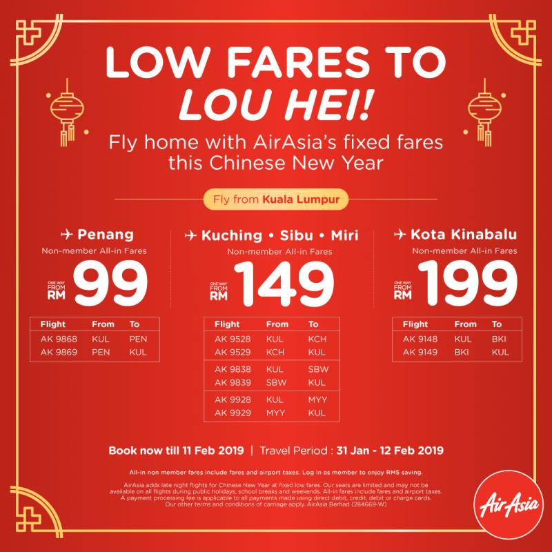 AirAsia Chinese New Year Promotion Fly Home with Fixed Fares (until 11 February 2019)