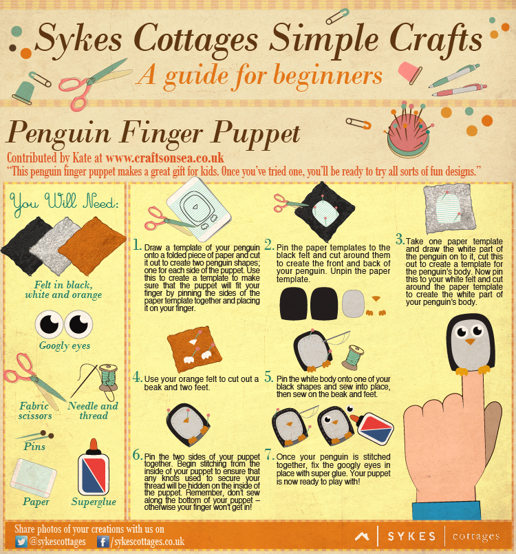 Sykes Cottages Simple Craft Guide: Penguin Finger Puppet