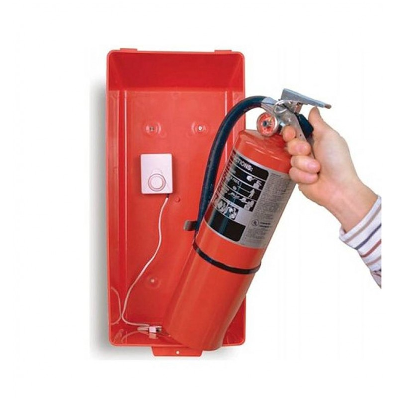 Alarm to reduce theft of portable fire extinguishers