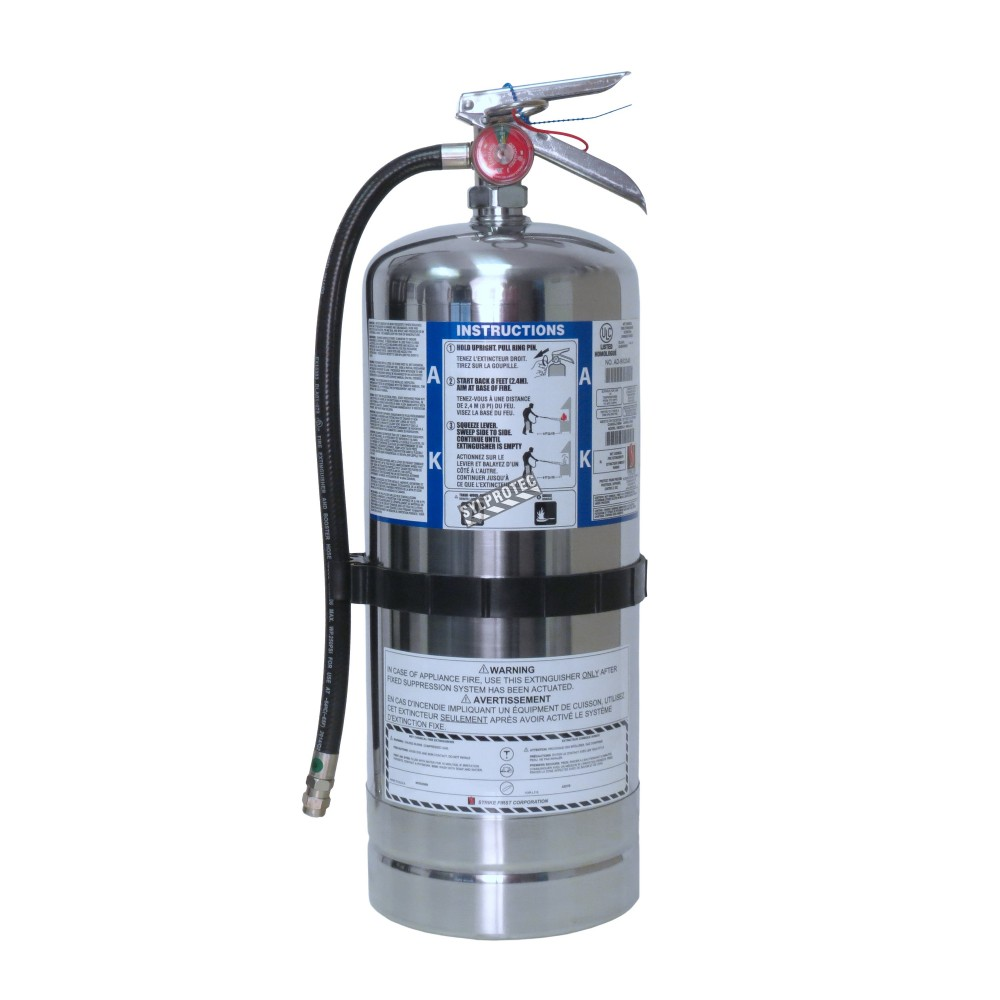 fire extinguisher for kitchen use prep table 1.6 gallons type ak, ulc 2ak, with wall hook