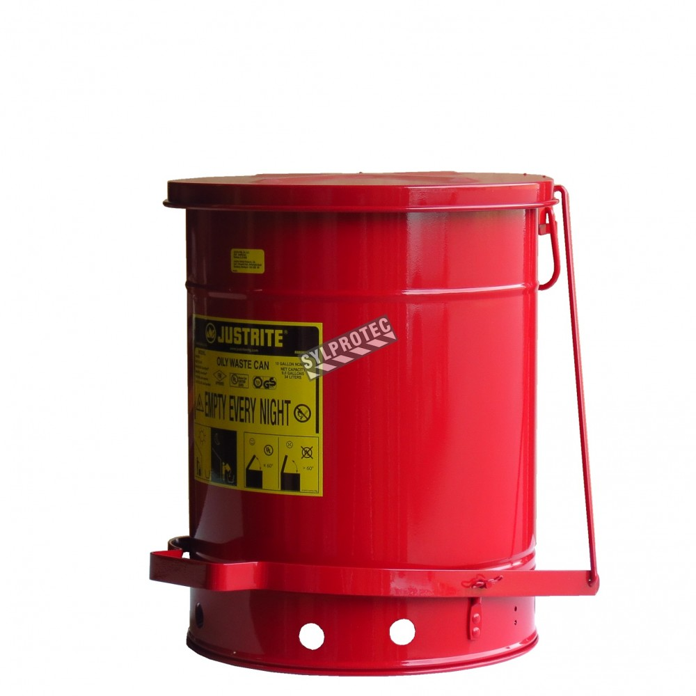10 gallon container with pedal for oily or solventsoaked