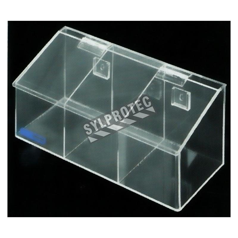 Clear acrylic hairnet dispenser with 3 bins  slanted