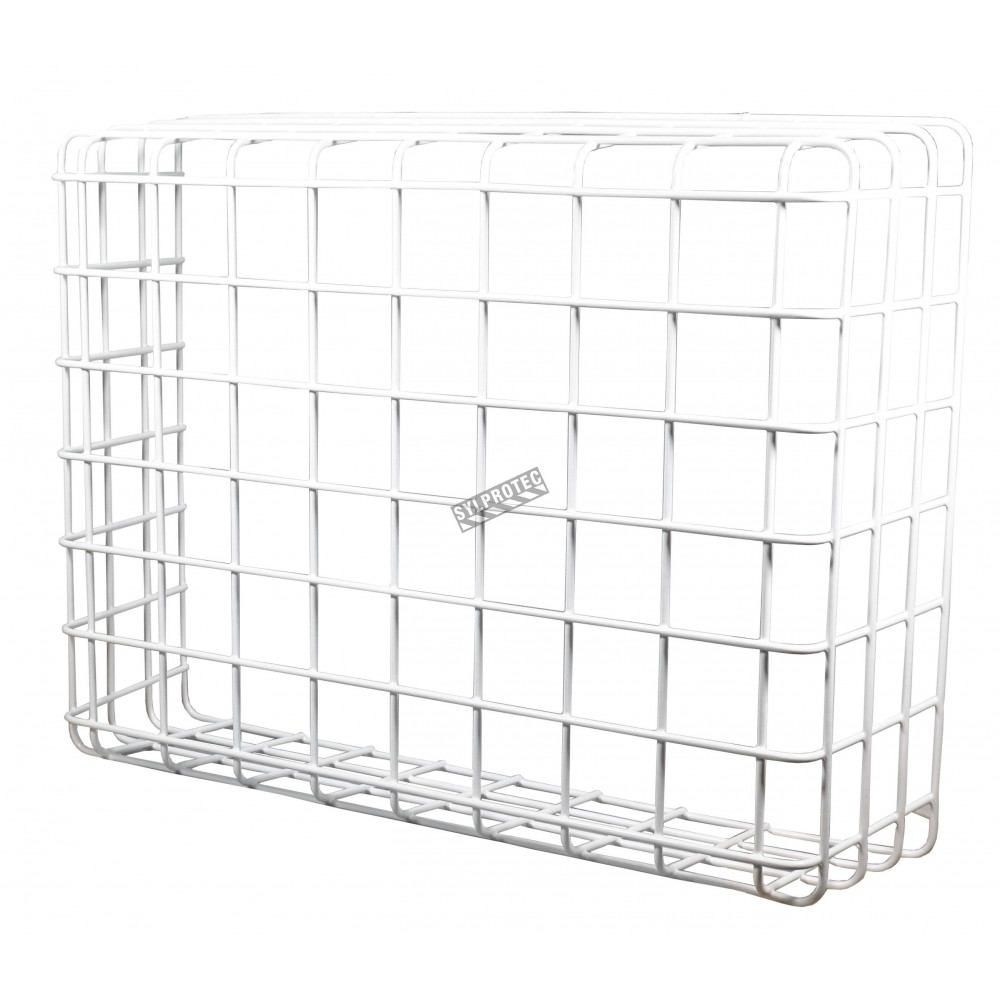 Steel wire mesh protective cage guard for exposed equipment.