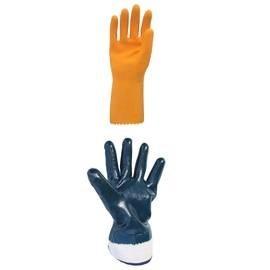 Gloves with polymer coatings nitrile neoprene PVC