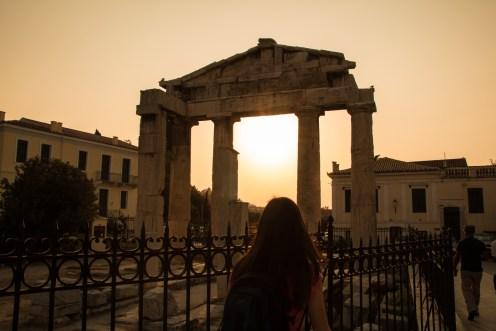 La Roman Agora au crépuscule, lors de notre voyage à Athènes.