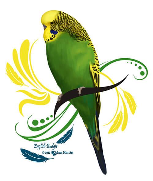 English Budgie parakeet design by Sylvan Mist Art