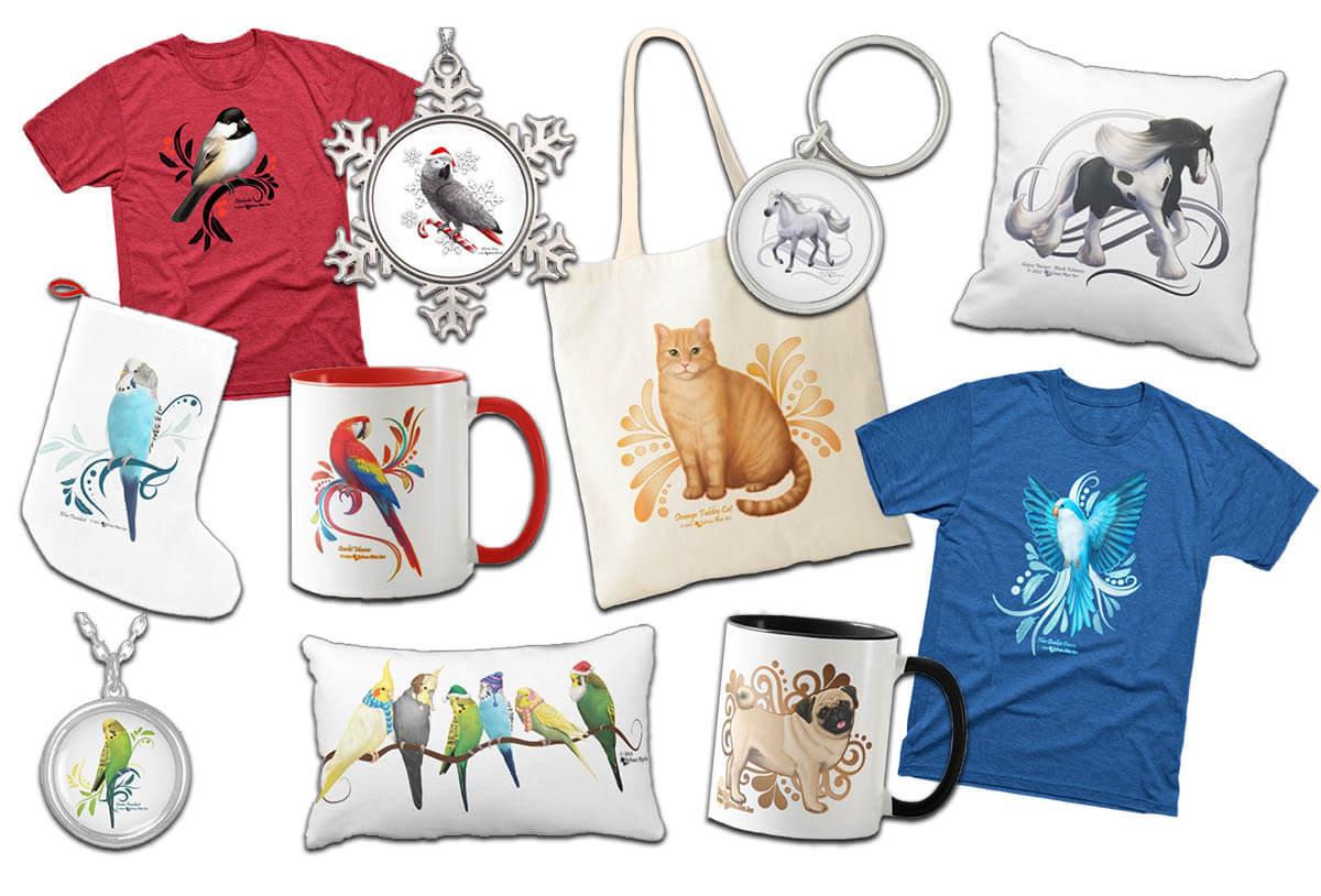 Animal artwork designs on mugs, tshirts, ornaments, pillows, tote bags, necklace, keychain, christmas stocking