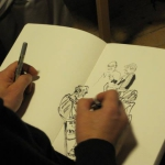 Weimin sketching at the Albion Beatnik