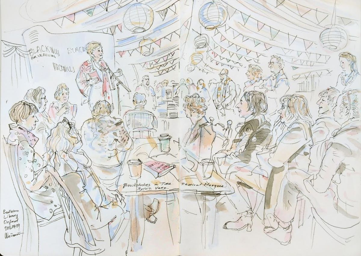 Weimin's sketch of OX Lit festival marquee event