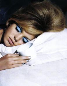 sylvie in the sky / periwinkle eyeshadow / pantone color of the year serenity - vintage vogue / winter color trend / periwinkle / home decor trend