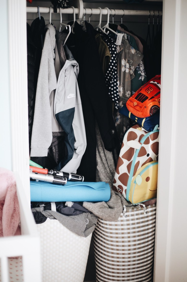 Shared Nursery Closet Makeover Organization - Container Store - Neat Method - SHARED NURSERY CLOSET MAKEOVER featured by popular San Francisco lifestyle blogger, Sylvie in The Sky