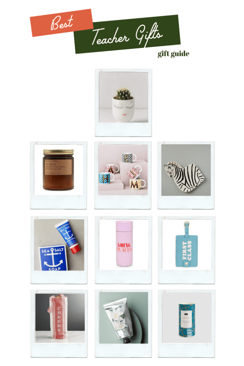 Gifts for Teachers featured by top US life and style blogger Sylvie in the Sky | SHOP: BEST GIFTS FOR TEACHERS by popular Northern California blog, Sylvie in the Sky: collage image of ceramic pot with a cactus in it, a candle, monogram mugs, ceramic zebra coaster, lotion, and leather luggage tag. | Unique Teacher Gift Ideas by popular San Francisco lifestyle blog, Sylvie in the Sky: collage image of a ceramic face plant pot, zebra coaster, monogram mug, leather travel tag, candle, Sea Salt Soap, thermos, and lotion.