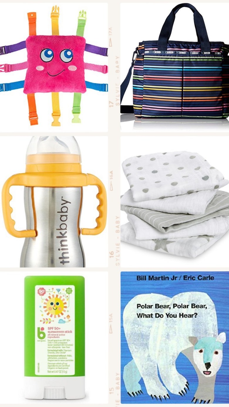 Best Diaper Bag Essentials for 2019 & 2020 by popular San Francisco lifestyle blog, Sylvie in the Sky: collage image of a LeSportsac Diaper Baby Bag -, muslin swaddle blankets, Eric Carl board book, think baby stainless steel straw cup, and baby organics sunscreen stick.