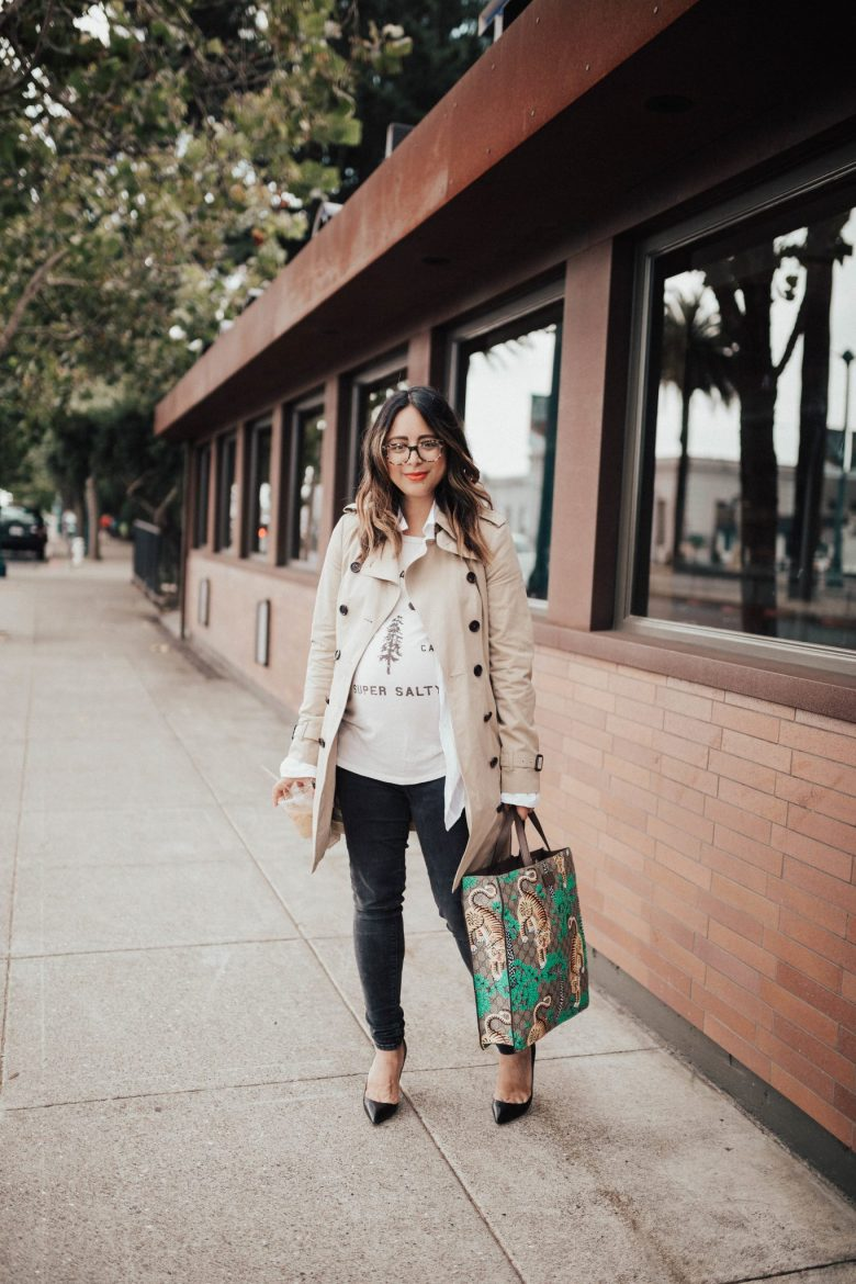 Women's Trench Coats and Outfit Inspiration by popular San Francisco fashion blog, Sylvie in the Sky: image of a woman standing outside and wearing a TopShop Staple Trench Coat and Nordstrom Manolo Blahnik 'BB' Pointy Toe Pump.