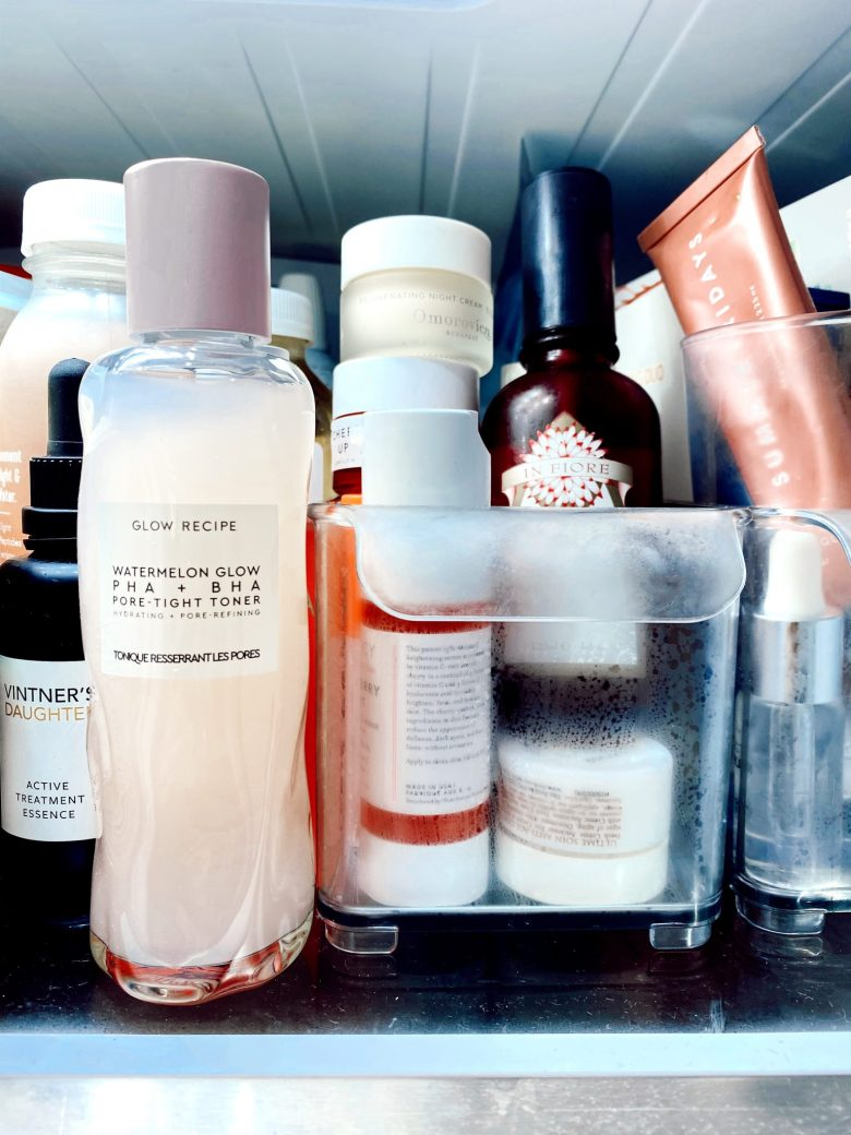 Refigerating Skincare by popular San Francisco beauty blog, Sylvie in the Sky: image of skincare products in a refrigerator.
