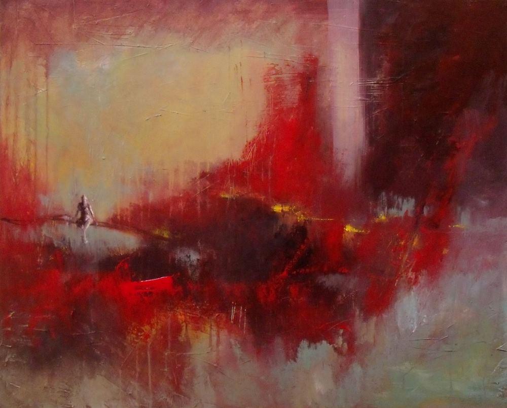 peinture le ciel est rouge