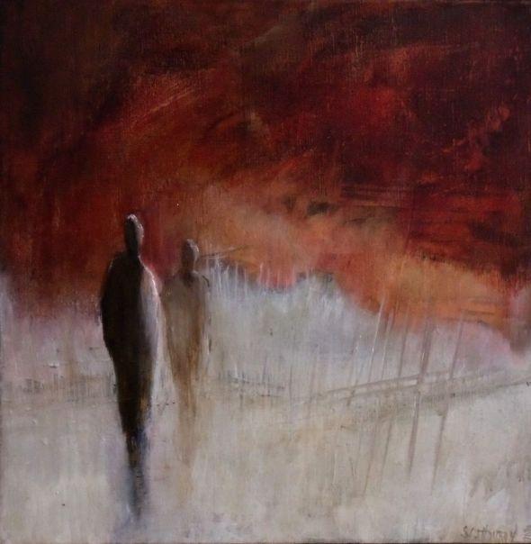 peinture thouron le ciel est rouge