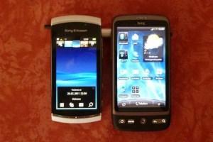 Vivaz Pro und HTC Desire im Größenvergleich