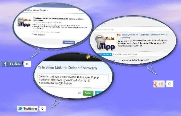 Popup Twitter, Facebook & Google