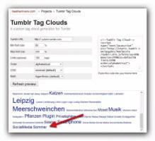 Tagcloudgenerator bei heatherrivers.com